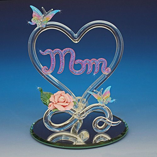 Collectible Mother's Day Gift Butterfly Heart for Mom Mother Glass Figurine Porcelain Rose Miniature Butterfly Glitter