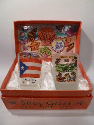 Puerto Rico Shells On Shore Boxed Shot Glass Set (Set of 2) ()