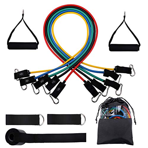 Powsure Resistance Bands Set, Excersize Bands with Handles, Workout Bands with Door Attachment, Ankle Straps, Tube Bands for Men, Women, Girls, Strengthening Muscle, Resistant Training at Home Gym