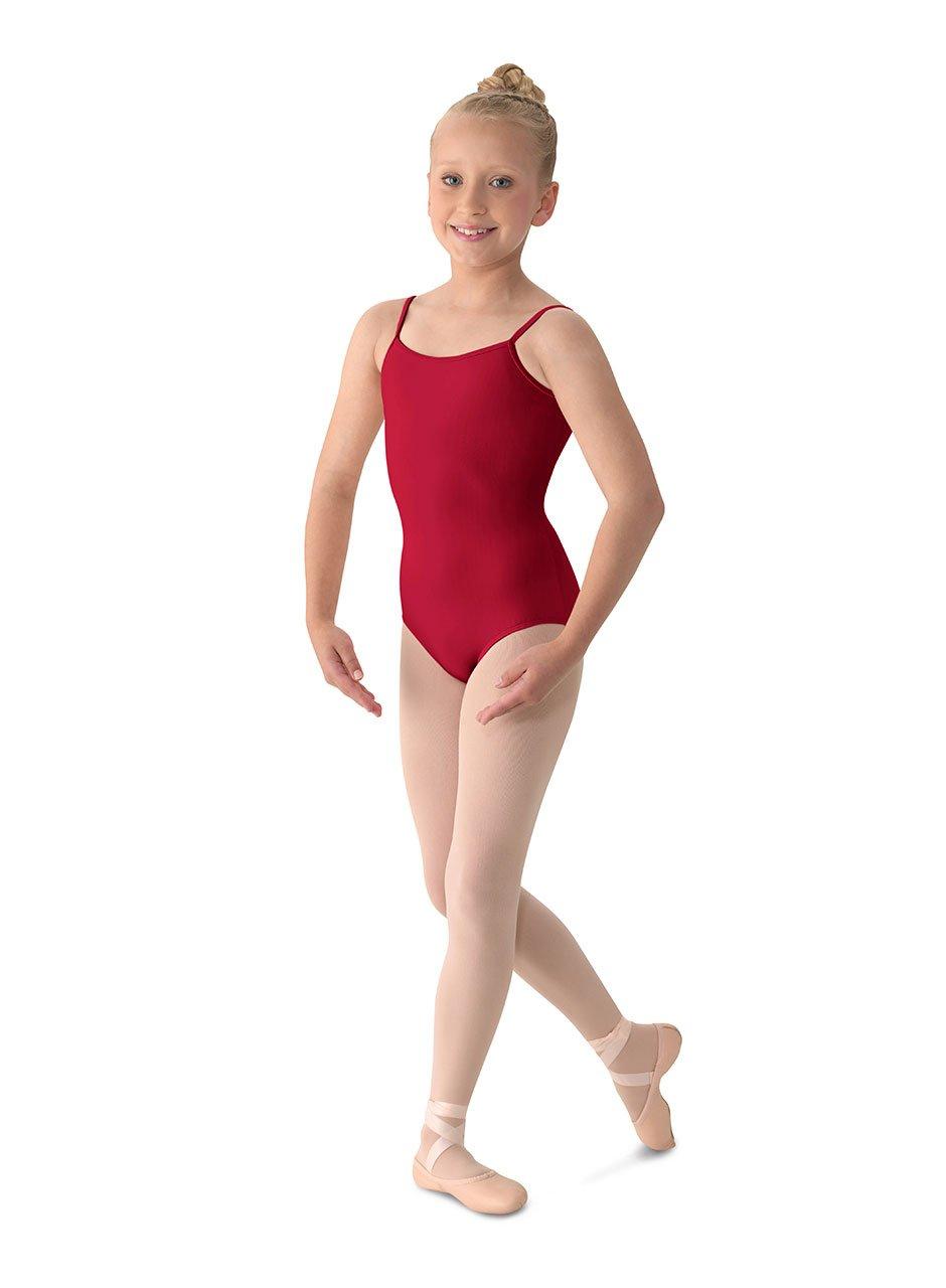 Mirella Girl's Classic V-Back Camisole Dance Leotard,Garnet,8-10 by Mirella