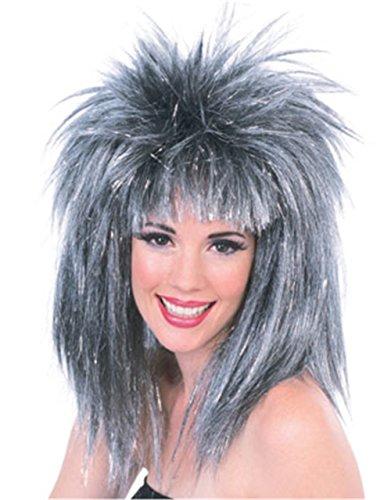 [Rubie's Costume Silver Glitter Diva Wig with Tinsel, Silver/Black, One Size] (Glitter Wigs)