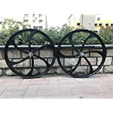 26' Mag Wheel Set F and R 100x120mm For Rotary Single Speed Flywheel / 26 Inch Magnesium Wheels/Black/Disc Brake - for…