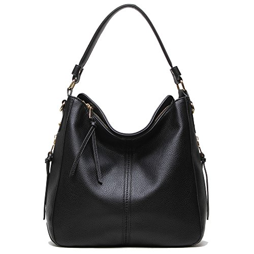 DDDH Hobo Handbags Leather Purses Large Tote Shoulder Bags Vintage Bucket Bag For Women(Black)