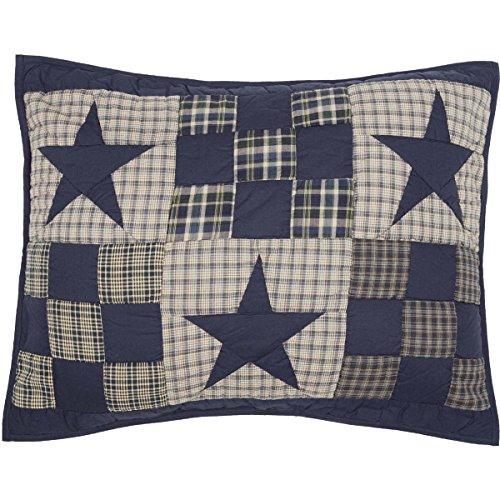 VHC Brands Primitive Bedding Blue Ninepatch Sham, Standard,