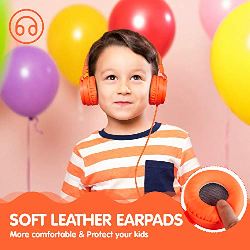 ONTA gorsun Foldable On Ear Audio Adjustable Lightweight Headphone for chlidren Cellphones Smartphones iPhone Laptop Computer Mp3/4 Earphones (Orange) by ONTA (Image #2)