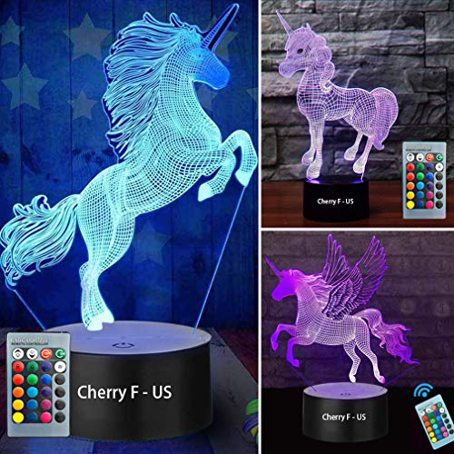 3D Unicorn Night Light--3D Unicorn Lamp Three Pattern and 7 Colors with Remote 3D Optical Illusion Kids Lamp as a Pefect Gifts for Boys and Girls on Birthday or Holiday (Unicorn) (Lights Christmas Tesco's)