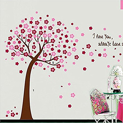 COFFLED Vinyl Wall Decal Stickers,Pink Color Cherry Blossom Tree,Removable &Easy to apply Wall Decoration (Couture 1 Light Led)
