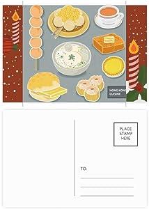 Hong Kong Local Cuisine Food Christmas Candle Greeting Postcard Congrats Mailing Card
