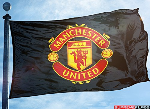 (Manchester United Flag Banner 3x5 ft Reds England Premier Football Soccer Black)