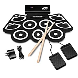 BABY JOY Electronic Roll Up Drum Kit w/ 9 Electric Drum Pads, 3.7V Lithium Battery, Bluetooth, Record, Play, Volume…