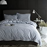Egyptian Cotton Duvet Cover Eikei Solid Color Egyptian Cotton Duvet Cover Luxury Bedding Set High Thread Count Long Staple Sateen Weave Silky Soft Breathable Pima Quality Bed Linen (Queen, Cloudy Sky)