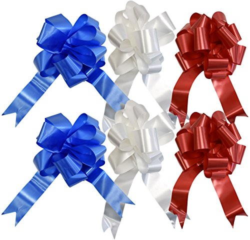 otic Pull Bows! 3 Elegant Colors - Red, White, Blue - 10 Inch Bow - Beautiful Pull Bows Perfect for Decorations for Gifts, Parties, 4th of July, BBQ's, and More! (6) ()