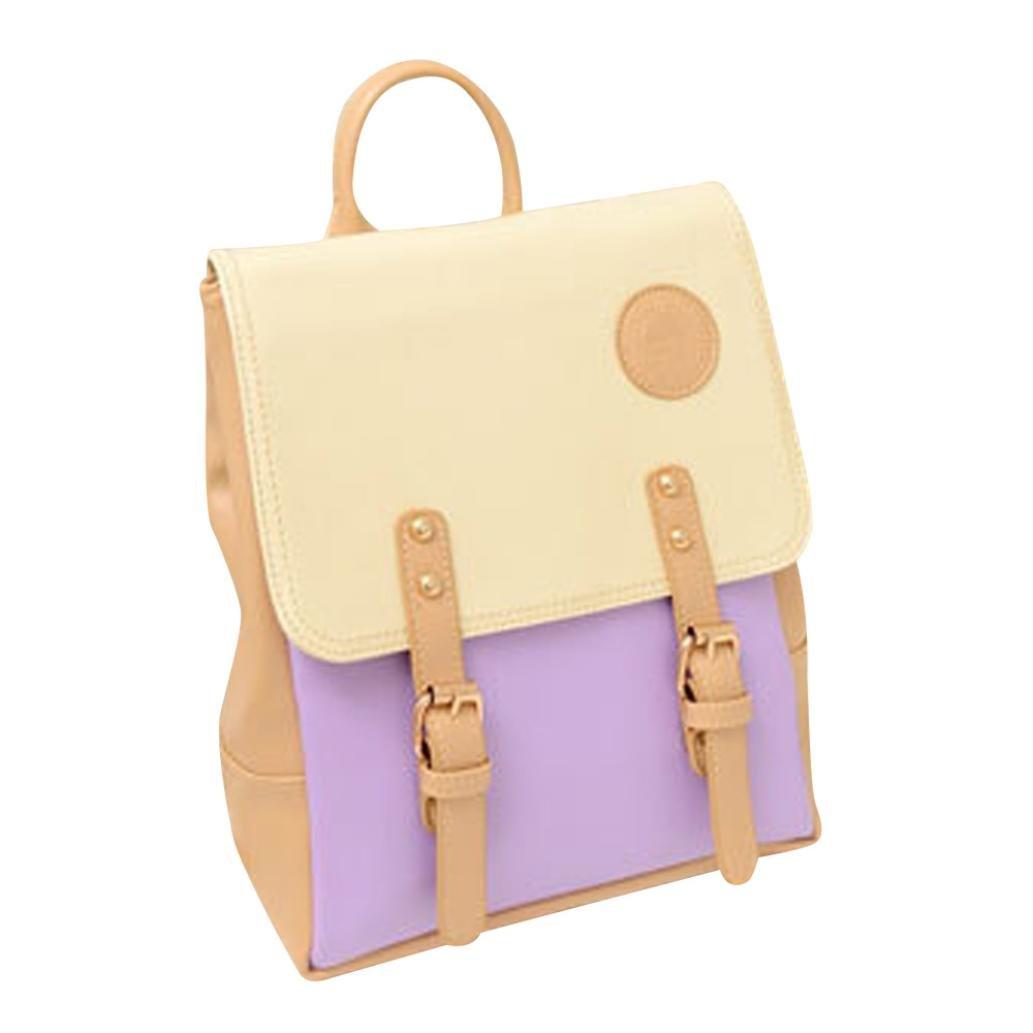 Aobiny Backpack Leisure Soft Leather Travel Backpack Shoulder Bag For Students (Purple)