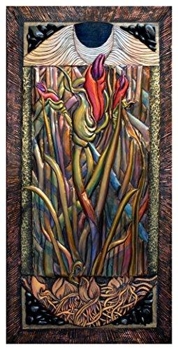 Sculpture Iris Garden Metal (Fine Artist Francesca Galliano Original Creation: Wood Carved Copper Forged Patinaed Brass Mixed Media 3D Assemblage Wall Sculpture Artwork - BHE Series Iris Buds with Moon Shining)