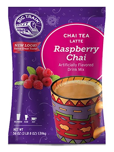 Big Train Chai Tea Latte Raspberry, 3 lb 8 oz (1 Count) Powdered Instant Chai Tea Latte Mix, Spiced Black Tea with Milk, For Home, Cafe, Coffee Shop, Restaurant Use