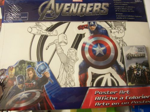 Marvel Avengersポスターアートセット~ 2Color Your Own Posters、1ジャンボステッカー、5クレヨンの商品画像
