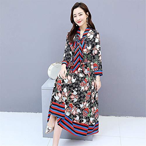 Dress D Señoras Elegante Midi Swing Línea Y Las Flare Impreso Negro Larga Una Vestido Floral Ajuste Túnica Mujeres Casual Manga De gwvHpH