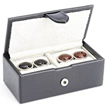 ROYCE Suede Lined Travel Cufflink Storage Box in Saffiano Genuine Leather, Fits 2 Pairs - Black