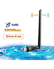 LINGwell WiFi Adapter,Wifi Dongle 600Mbps 802.11ac Dual Band Wifi Stick 5GHz 433Mbps/2.4GHz 150Mbps Wireless Adapter for Desktop/Laptop/PC/Tablet Support Windows 10/8 / 7/ Vista/XP/ 2000/ Mac Os X