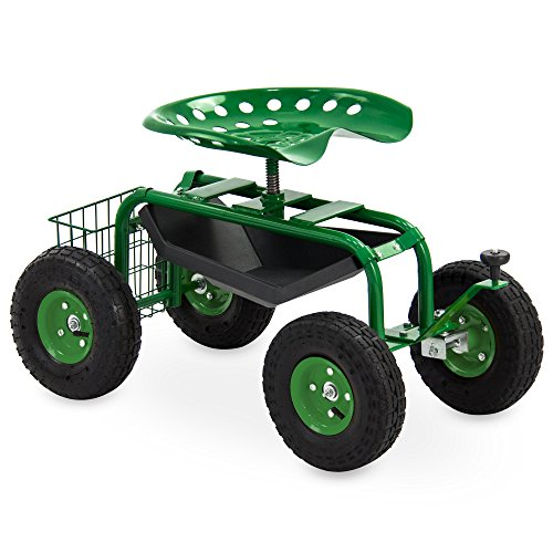 Best Choice Products Garden Cart Rolling Work Seat With Tool Tray Heavy Duty Gardening Planting New (Garden Hopper)