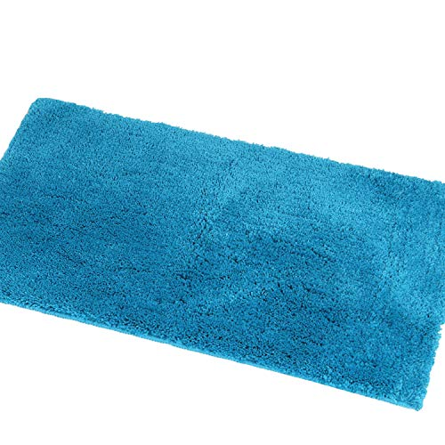 Shaggy Bathroom Rugs Runner,HAOCOO Bathroom Floor Mats Carpet Non-Slip,Water Absorbent, Machine-Washable, Soft Thick Plush Bath Rug for Doormats Tub Shower (21×34 inch, Cyan Blue)