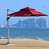 PURPLE LEAF 11 Feet Double Top Deluxe Patio Umbrella Offset Hanging Umbrella Outdoor Market Umbrella Garden Umbrella, Dark Red For Sale