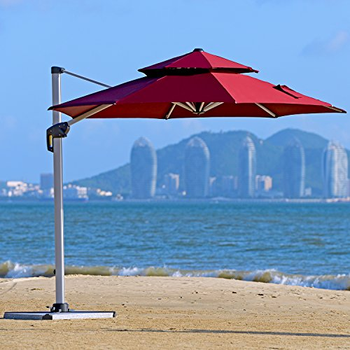PURPLE LEAF 11 Feet Double Top Deluxe Patio Umbrella Offset Hanging Umbrella Outdoor Market Umbrella Garden Umbrella, Dark Red