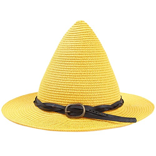 SAYM Women Fashion Candy Color Children Straw Pointed Witches' Hat Beach Sun Cap Yellow