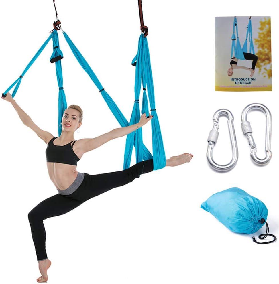Amazon Com Dgwe Outdoor Indoor Yoga Swing Set Yoga Hammock Trapeze Sling Kit Antigravity Yoga Hanging Trapeze Flying Swing Yoga Set Blue Sports Outdoors
