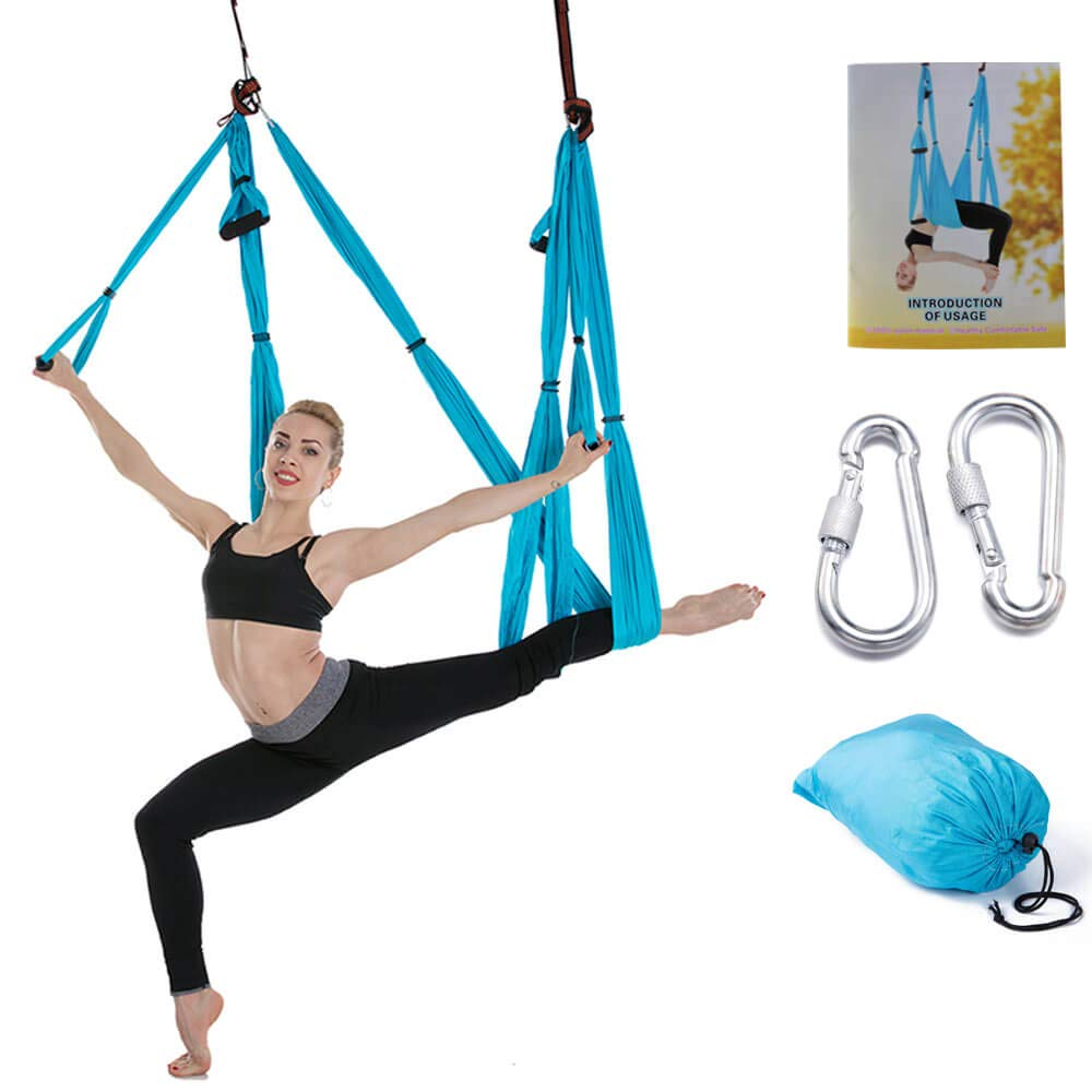 DGWE Outdoor Indoor Yoga Swing Set - Yoga Hammock/Trapeze/Sling Kit, Antigravity Hanging Yoga Sling, Flying Swing Yoga Pilates Set Kit Include Steel Carabiners by DGWE