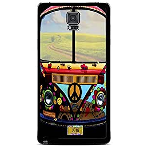 Retro 70's Colorful Peace VW Bus Hard Snap on Phone Case (Note 4 IV)