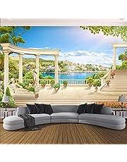 BYSQX 3D Muurstickers voor slaapkamers voor meisjes blauwe hemel Romeinse kolom tuin moderne zelfklevende muur foto achtergrond muur poster muur sticker kleuterschool jongen babykamer muur art deco