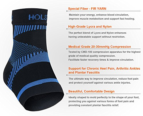 HOLSTYLE Far Infrared Rays Ankle Compression Sleeve Socks for Plantar Fasciitis Support Brace for Men and Women1pair