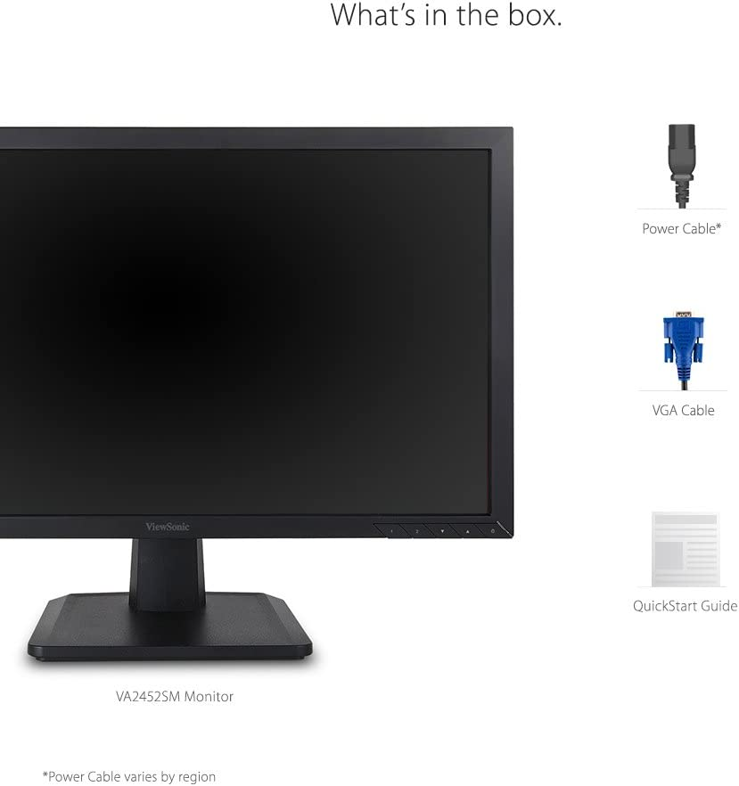 ViewSonic VA2452SM 24 Inch 1080p LED Monitor DisplayPort DVI and VGA Inputs for Home and Office