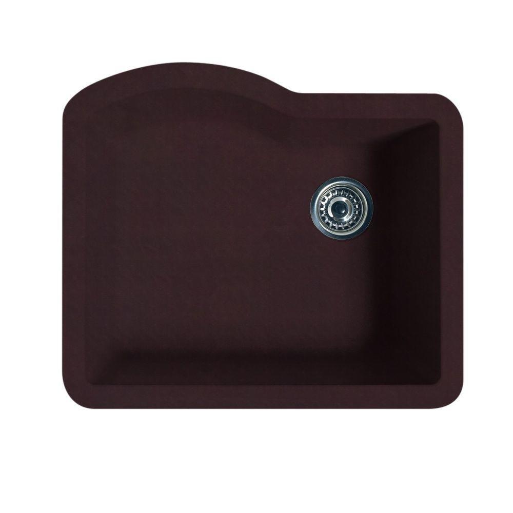 Swanstone QU02522SB.170 Granite Undermount Single-Bowl Kitchen Sink 24-in L X 21-in H X 9-in H Espresso