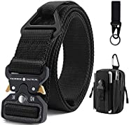 Fairwin Tactical Belt with Molle Pouch, Military Style 1.5 Inch Nylon Webbing Belt with V-Ring Heavy-Duty Quic
