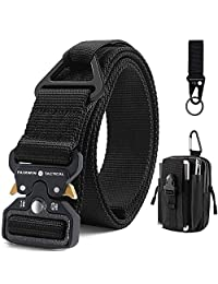 Fairwin Tactical Belt with Molle Pouch, Military Style 1.5 Inch Nylon Webbing Belt with V-Ring Heavy-Duty Quick-Release Buckle Mens Belt for Cargo Pants Jeans