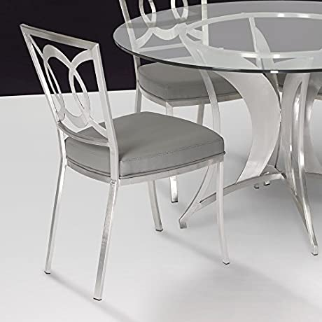 Armen Living LCDRCHGRB201 Drake Dining Chair Set Of 2 In Grey Fabric And Grey Metal Finish