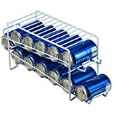 DecorRack Stackable Front Loading Beverage Can Dispenser Rack, Stacking Can Organizer for Soda Cans Holder for Refrigerator, Kitchen Cabinet, Pantry, Fridge, White