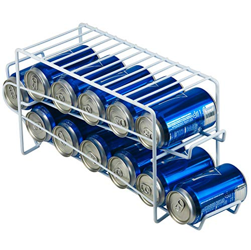 - DecorRack Stackable Front Loading Beverage Can Dispenser Rack, Stacking Can Organizer for Soda Cans Holder for Refrigerator, Kitchen Cabinet, Pantry, Fridge, White