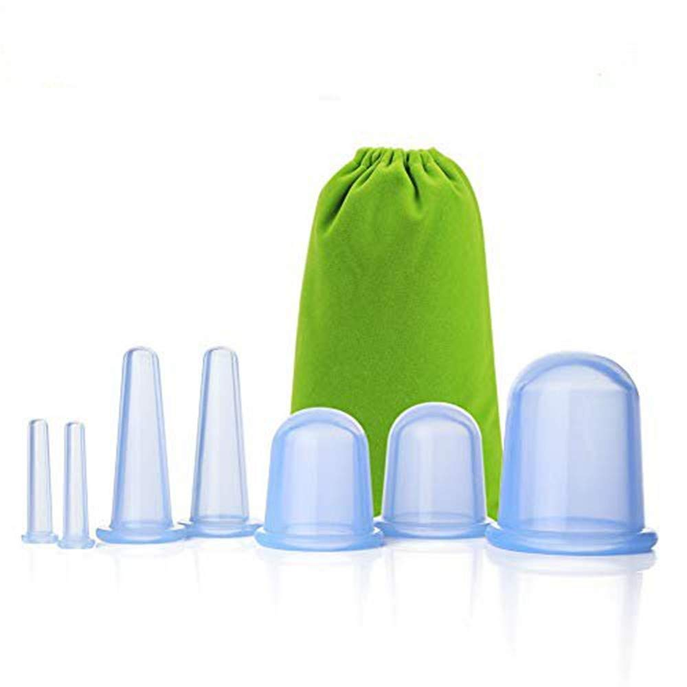 7 Cups Facial Cupping Set SENREAL Silicone Cupping Therapy Kit Vacuum for Face Cupping Cups Facial Vacuum Massage Cup Kit for Muscle, Nerve, Joint Pain Relief