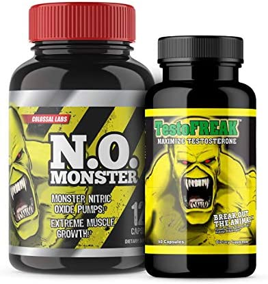 Nitric Oxide and T Stack by Colossal Labs Powerful Pumps and Enhance Muscle Gains Supports Recovery, Strength, boosts T Levels Focus. Two 2 Bottles