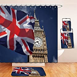 Beshowereb Bath Suit: Showercurtain Bathrug Bathtowel Handtowel British union jack flag and Big Ben Clock Tower at city of westminster in the background UK votes to leave the EU_114431572