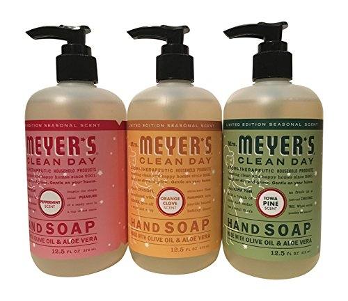 Mrs. Meyer's Clean Day Holiday Hand Soap Bundle (Peppermint, Iowa Pine, and Orange Clove) 12.5 Ounces each