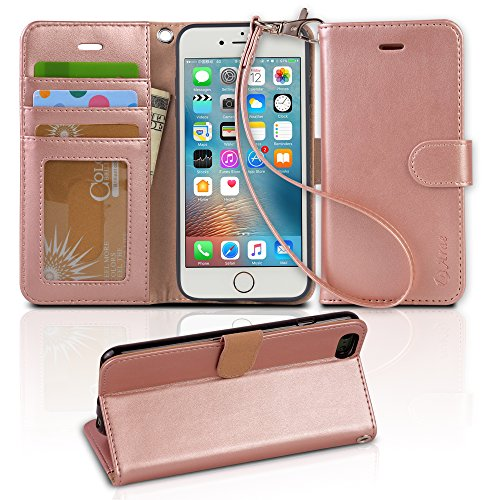 Price comparison product image Arae PU Leather Flip Folio Kickstand Wallet Case with Card Slots for iPhone 6 / 6S - Rose Gold