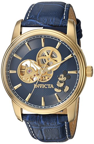Invicta Men's Disney Limited Edition Stainless Steel Automatic-self-Wind Watch with Leather Calfskin Strap, Blue, 22 (Model: 24501)