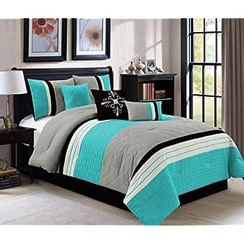 Amazon Com Modern 7 Piece Queen Bedding Aqua Blue Black