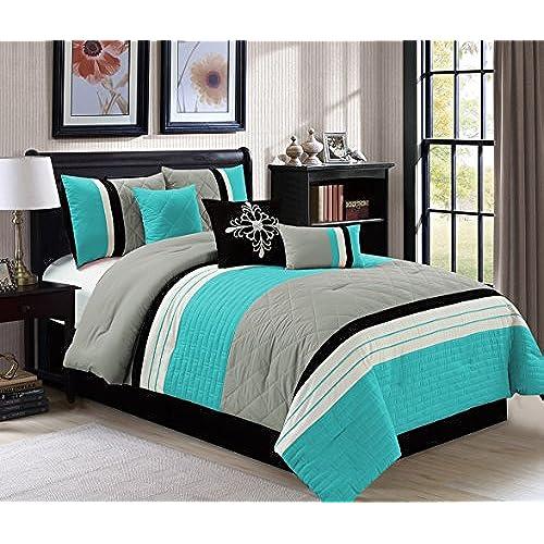 modern 7 piece queen bedding aqua blue black grey quilted stripe comforter set with accent pillows - Modern Bedding Sets
