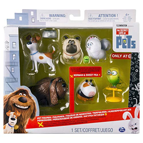 The Secret Life of Pets - Mini Pets Collectible Toy Action Figures Set, 6-Pack, Exclusive. Includes: Max, Duke, Mel, Gidget, Sweet Pea, and Norman Minifigures, and 3 Accessories. Made by Spin Master.