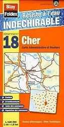 Cher (18). Carte Départementale, Administrative et Routière (échelle : 1/180 000)